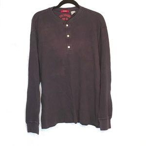 Levis Strauss M Medium Shirt Navy Blue Long Sleeve